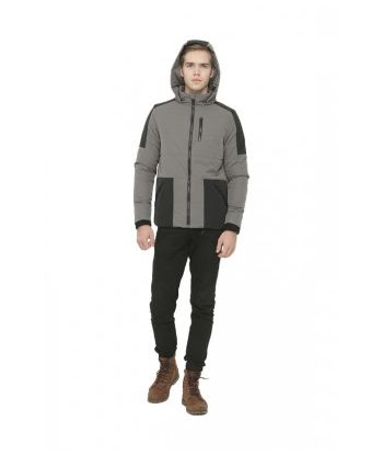 MEN COLOUR BLOCK/MIX FABRIC PADDED JACKET