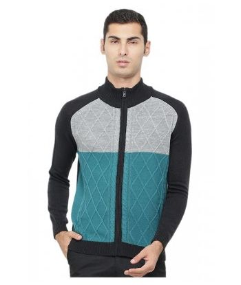ADULT ROUND NECK COLOUR BLOCK CABLE CARDIGAN