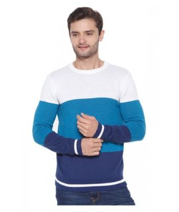 WOOL ROUND NECK COLOUR BLOCK PULLOVER