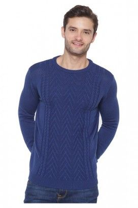 WOOL ROUND NECK CABLE PULLOVER