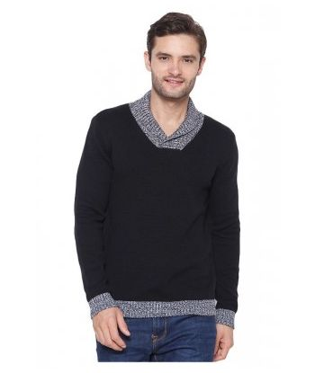 COTTON SHAWL COLLAR PULLOVER
