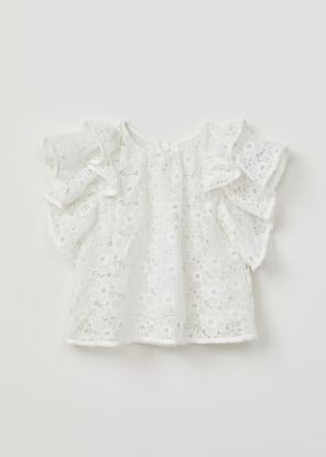 Halcyon Lace Ruffle Sleeve Top