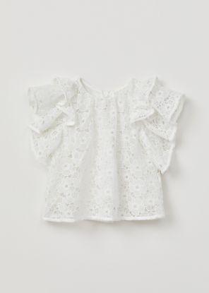 Halcyon Lace Ruffle Sleeve Top