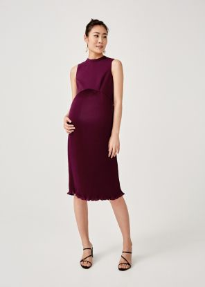 Amaya Mock Neck Pleated Dress